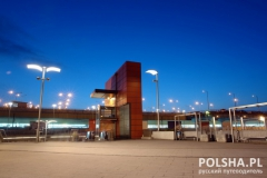 Railway station entrance by night, Krakow, Poland
