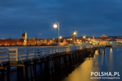 Molo at night in Sopot, Poland.