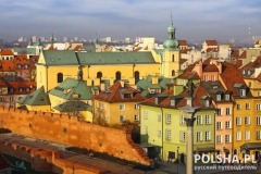 Buildings at Old Town Square (Plac Zamkowy) in Warsaw, Poland