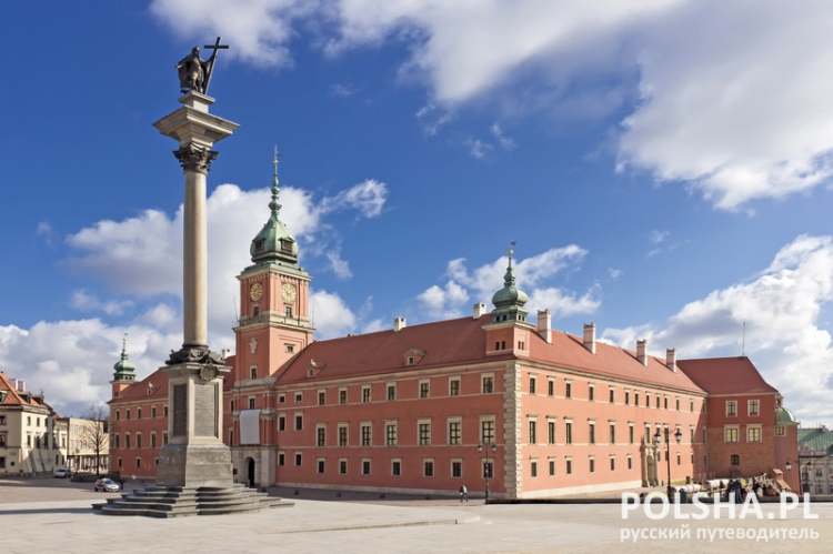 Sights of Poland. Warsaw Castle Square with king Sigismund column.