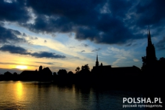 Awesome evening over Wroclaw city, Poland